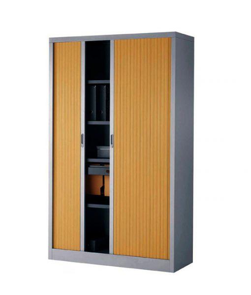 TOARG04_Armoire métallique Grise et portes colori bois occasion
