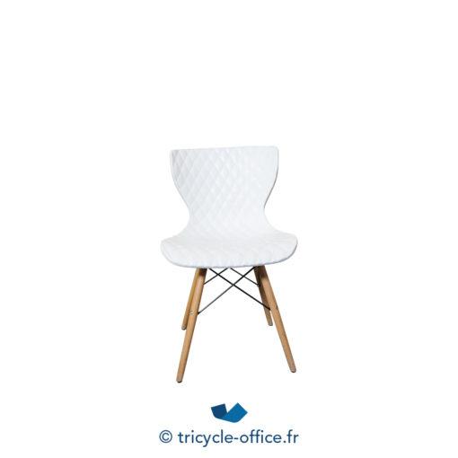 Tricycle Office Mobilier Bureau Occasion Chaise Visiteur Effet Matelasse Blanc (2)