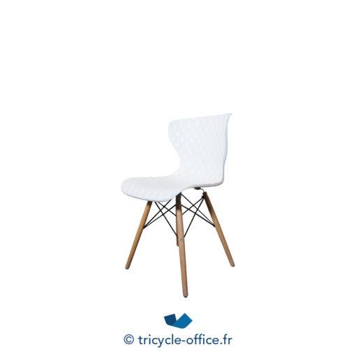 Tricycle Office Mobilier Bureau Occasion Chaise Visiteur Effet Matelasse Blanc (3)