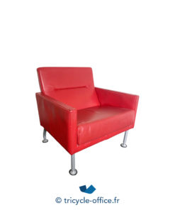 Tricycle Office Mobilier Bureau Occasion Chauffeuse Simili Cuir Rouge (3)