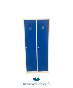 Tricycle Office Mobilier Bureau Occasion Vestiaire Bleu Metallique 2 Portes