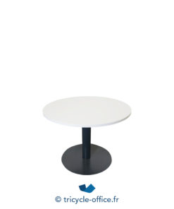 Tricycle Office Mobilier Bureau Table Ronde 100 Cm Anthracite Blanc (